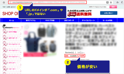 URLのドメインが「.com」や「.jp」ではない